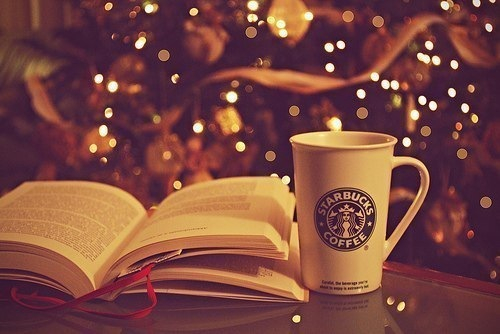 book, christmas, christmas tree, coffee, cup, lights, relax, starbucks, winter, xmas