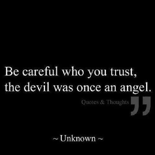 angel, devil, quote and trust
