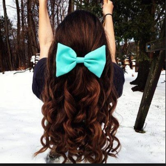 bow, brown hair, curls and curly