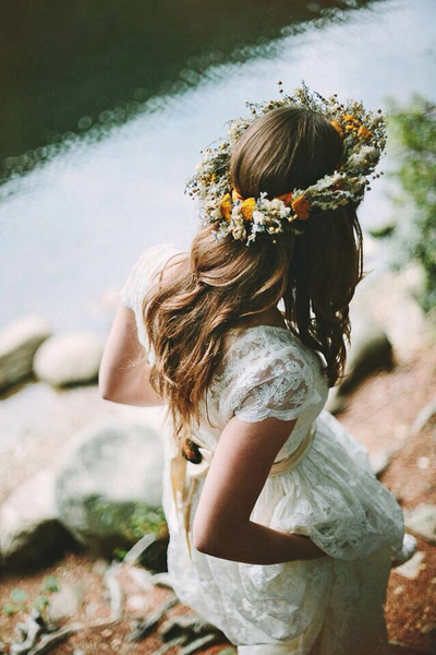happy, hipster, fashion, girl, hair, flowers