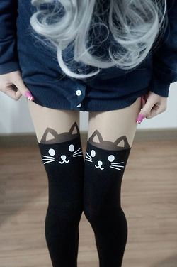 black, blue, cat, cute, fashion, girl, hair, hipster, leggins, legs, love, pink, shirt, wavy hair, white, white hair, colors hairs