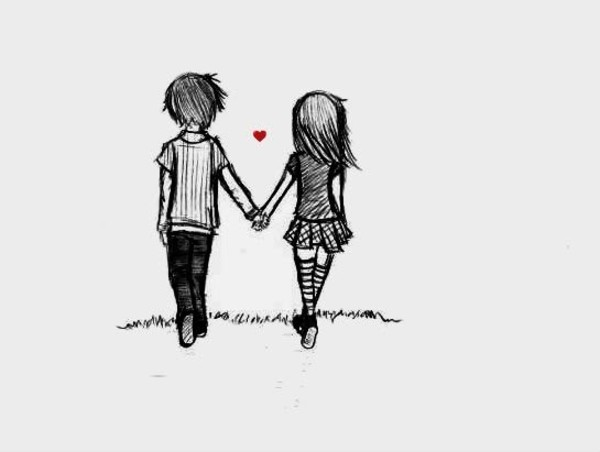 boy, couple, cute, draw, drawing, girl, love