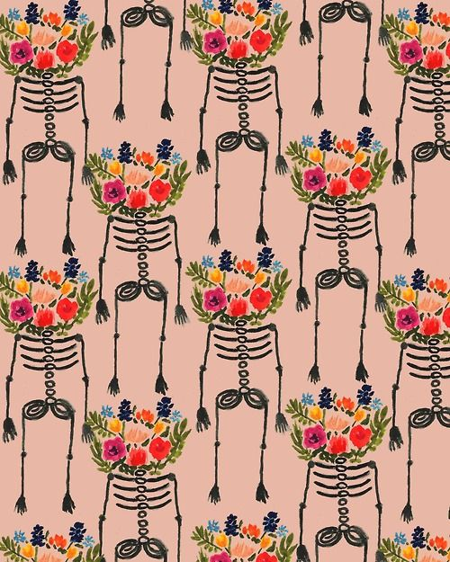 skeleton, flowers, roses, bones, wallpaper, pink