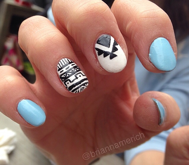 aztec, aztec nails, nail art and pretty nails