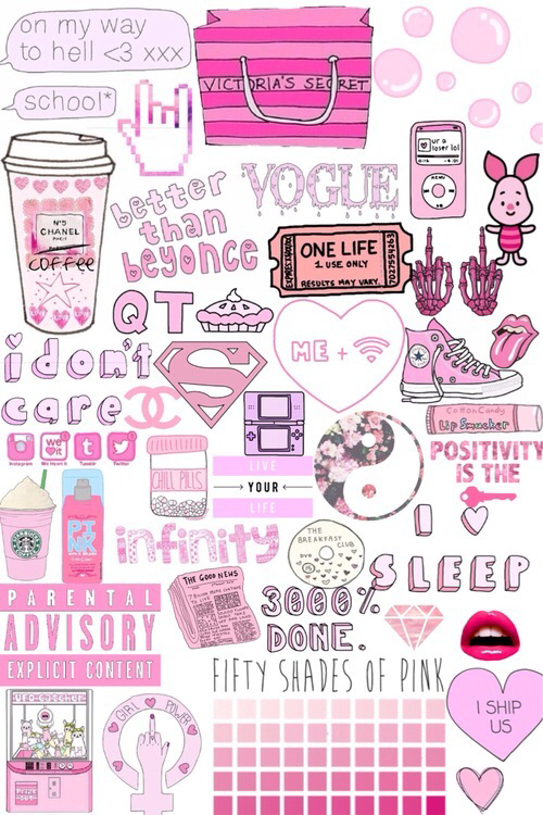 background  collage  funny  girly  love  pink  starbucks  wallpaper