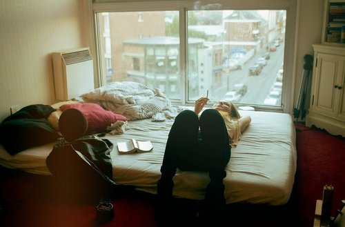 bedroom, book, cigarette and city