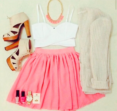 color, cool, cute, fashion, girl, girly, heart, love, nails, nice, outfit, photograph, pink, shoes, skirt, style, summer, sweet
