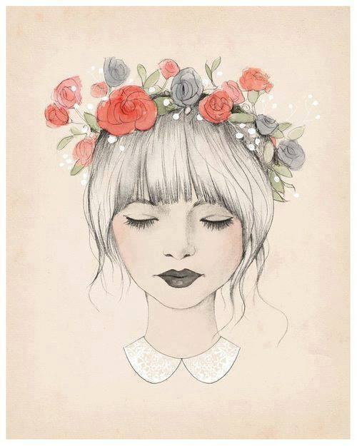 Girl with flower crown drawing - photo#4
