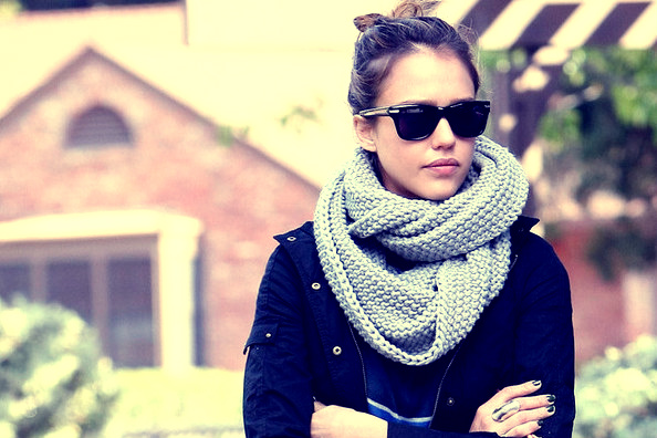 beauty, jessica alba, scarf, style, sunglasses