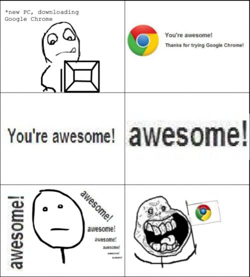 awesome, chrome, forever alone, funny, google, lol, meme