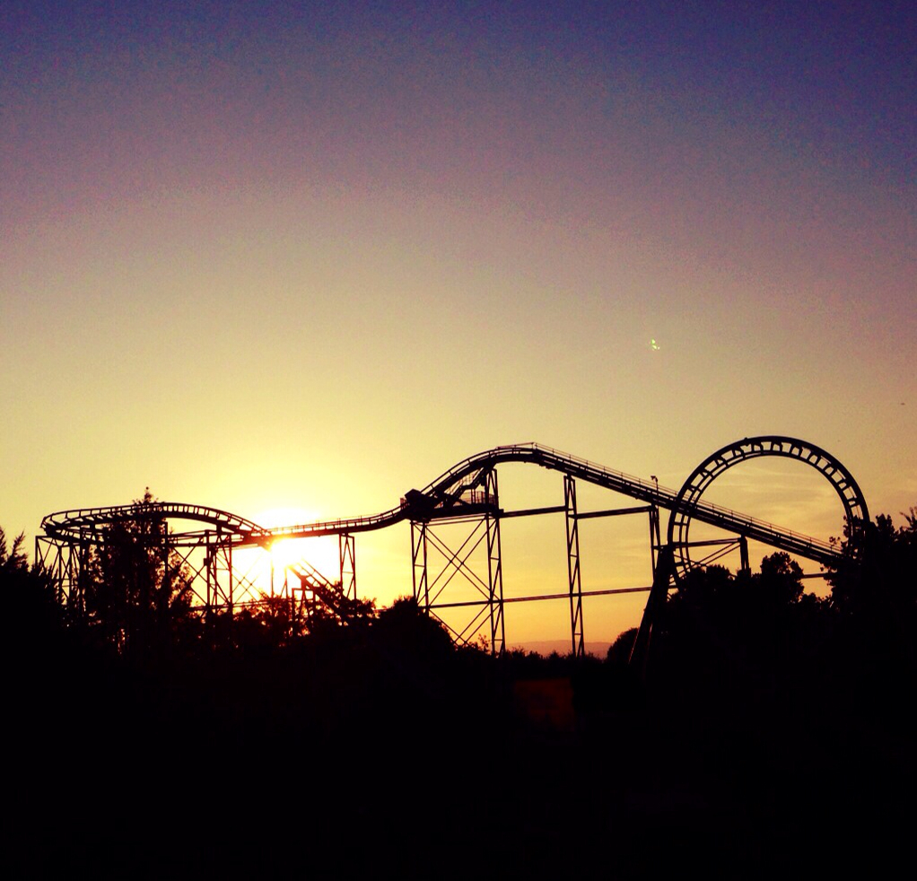 2014, adrenaline, fun, grassland, hipster, indie, italy, life, love, pretty, rollercoaster, scary, silhouettes, summer, sunlight, sunset, theme park, thrill