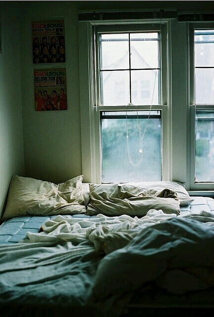 bed, bedroom, room, vintage, window