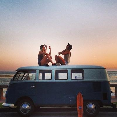 beach, bus, sunsets and surf