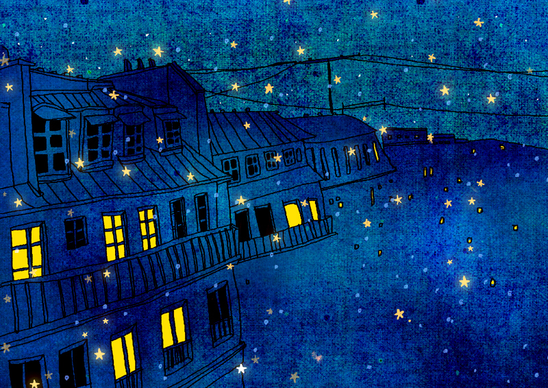 art, blue, night and stars