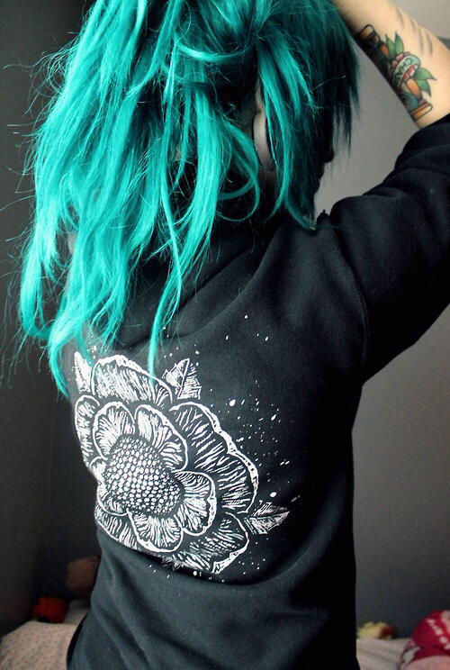 alternative, beautiful, blue, cold, colored hair, coloured hair, girl, hair