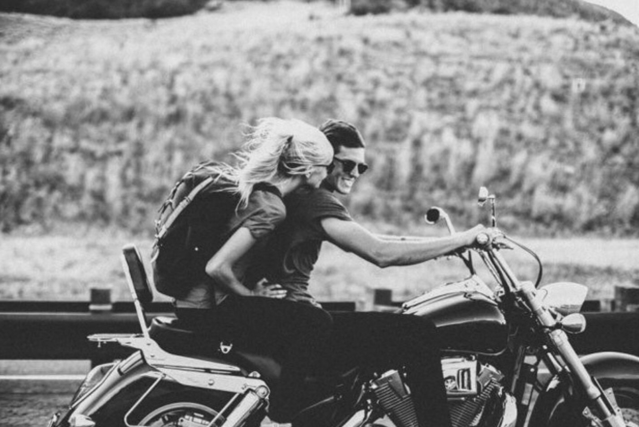 adventure, black and white, boy, couples, girl, love, motorcycle, relationship, romance