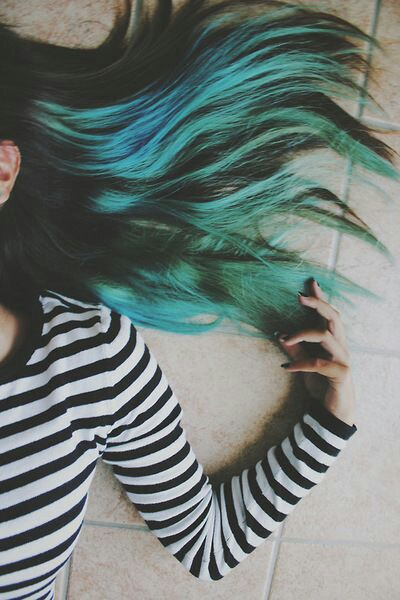 alternative, blue, color, girl, green, grunge, hair, indie, First Set on Favim.com