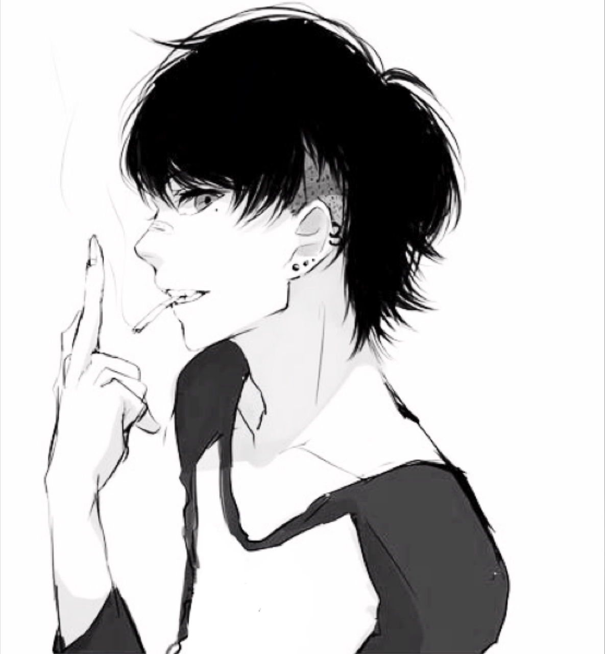 anime boy, black and white, bnw, cute, hot, monochrome, smoking