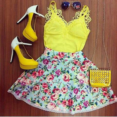 beauty, bolsa, cute, fashion, floral, flowers, for girls, green, happy, inspiration, inspired, look, moda, oculos, outfits, perfect, saias, salto, sapatos, style, summer, yellow