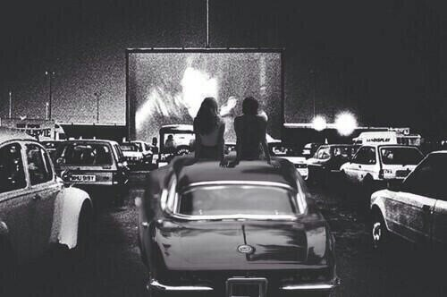 couple, drive in, movie, night, old car