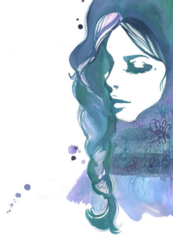 art, blue, dark, draw, drawing, girl, green, inspiration, model, painting, portrait, purple, watercolor, drawspiration