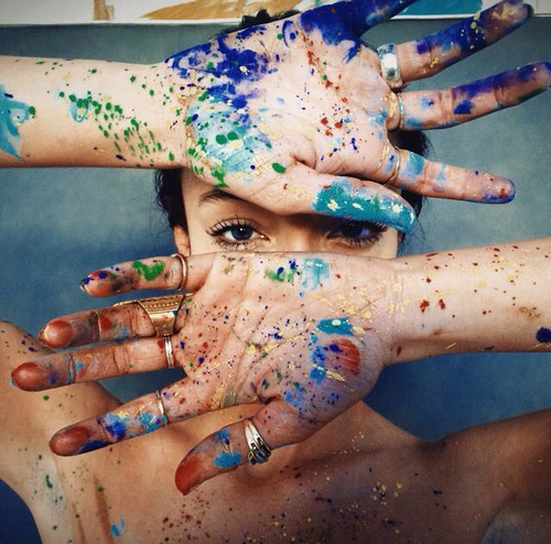 beautiful, colorful, eyes, hands, model, paint ...