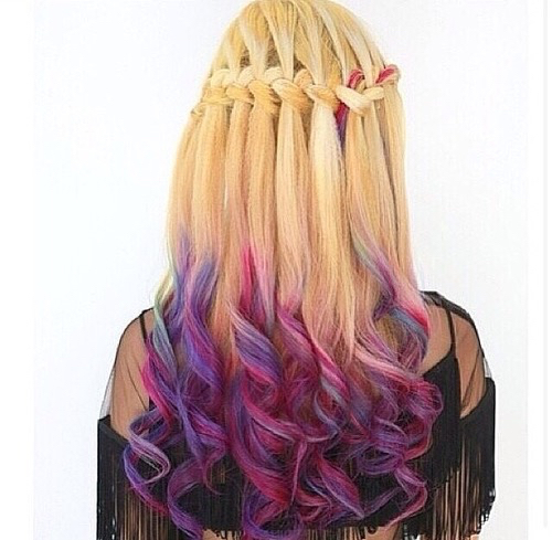 blonde, blue, braided, colored hair, curls, purple, First Set on Favim.com