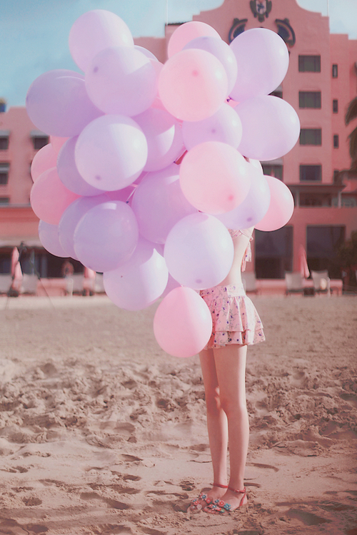 balloons bright floral flowers girl girly happiness