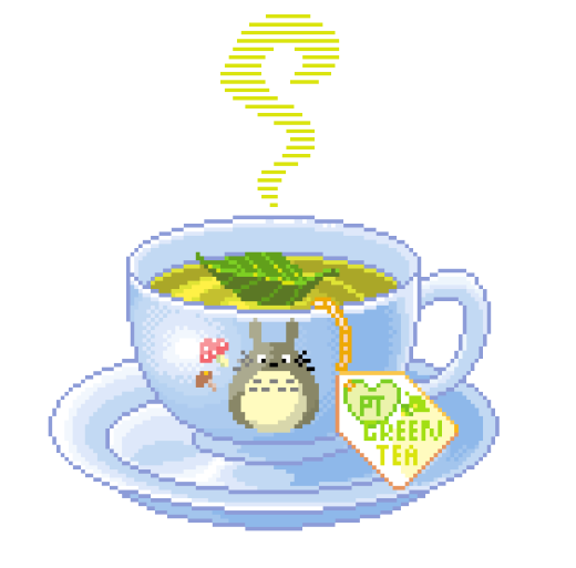 green tea, kawaii, my neighbor totoro, pixel art, studio ghibli