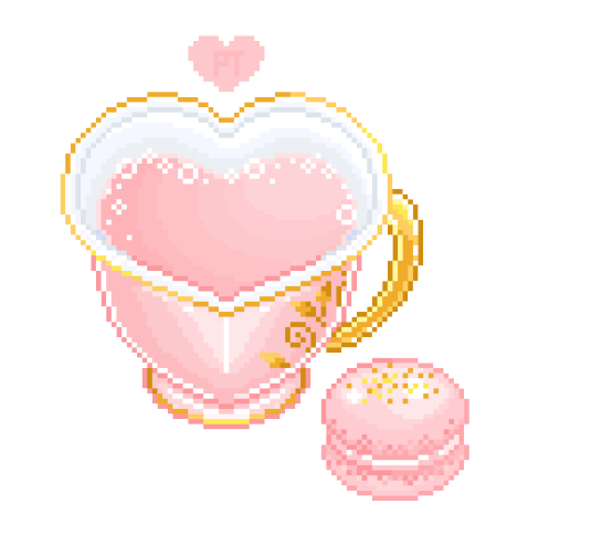 kawaii, macaron, pale pink, pastel color, pixel art, shabby chic, tea