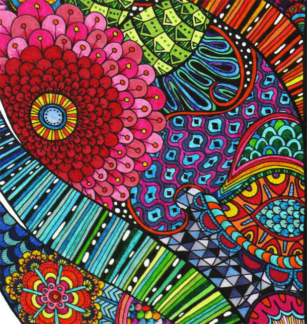 Pink pink pink pink color hot pink pink flower wallpaper flower - Color Drawing Flower Green Pretty Red Zentangle