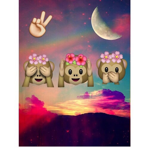 #emoji #cute #good #love #three #monkeys #flower #moon