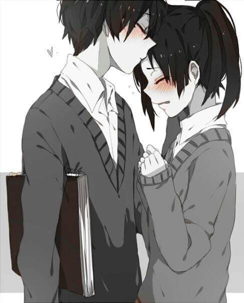 anime couple, anime kiss, black and white, cute, hug, kawaii, love, manga, manga couple, romance, school, school uniform, shoujo, shy, anime romantic, anime hug, manga kiss, manga romantic, manga hug, anime