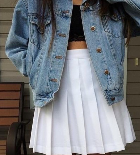 american apparel, black, blue, denim, fashion, girl, outfit, tumblr, white, tennis skirt