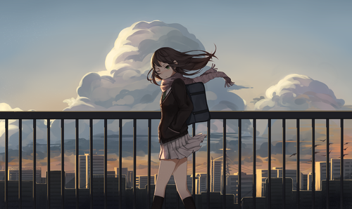 anime girl, art, city, clouds, illustration, school uniform