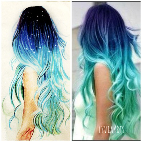 Art Azul Blue Color Desenho Draw Drawing Hair Hair Color Magic Stars - Image #3300896 ...