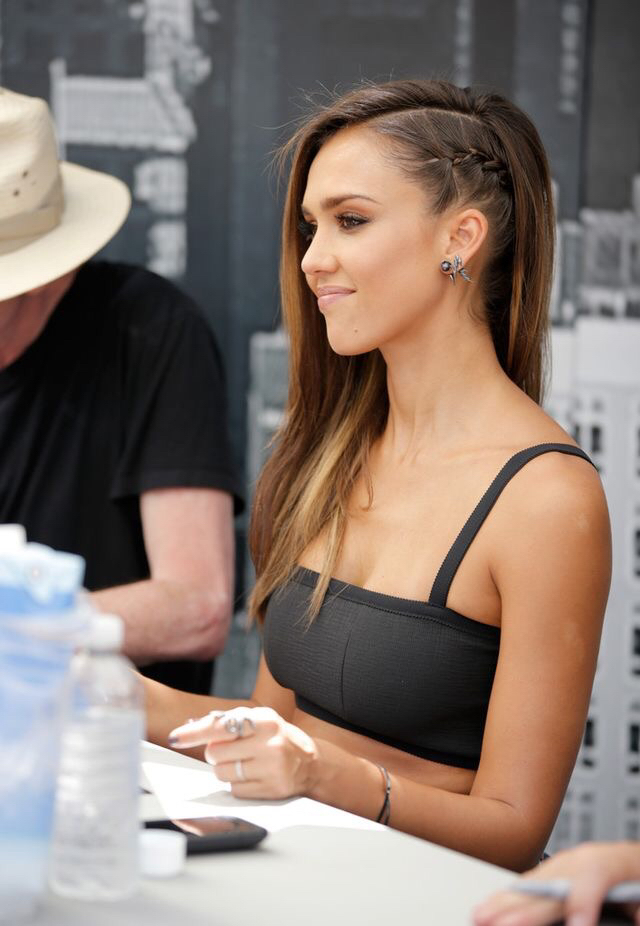 beach, black, braid, casual, chic, fashion, hair, jessica alba, jewellery, plait, pretty, spring, style, summer