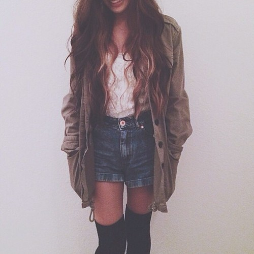 fall, fashion, outfit, shorts, style, knee ​high socks, anorak jacket