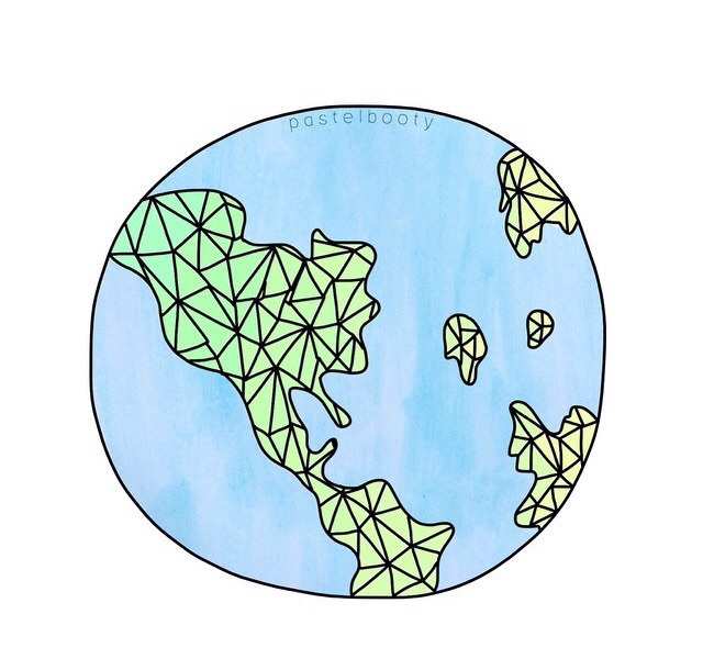 blue, continents, drawing, earth, geometric, globe, green, overlay, png, transparent, tumblr, watercolor