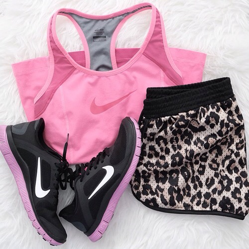 Fitnes Girly Nike Outfit Pink Shoes Short Style Work Out - Image #3378456 By Lauralai On ...