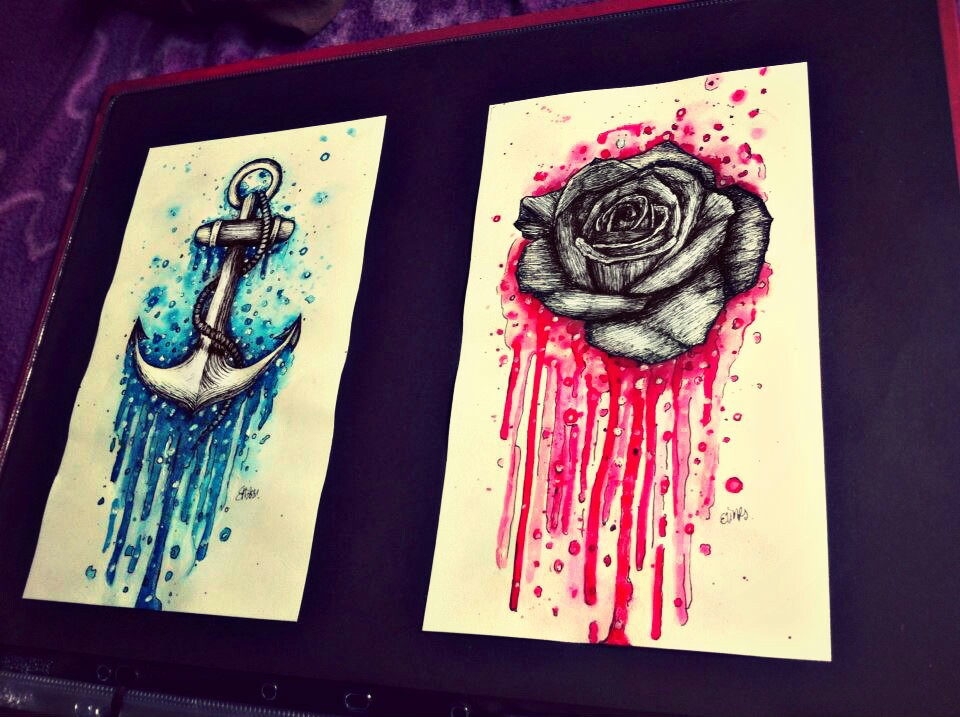 anchor, blue, pink, random, rose