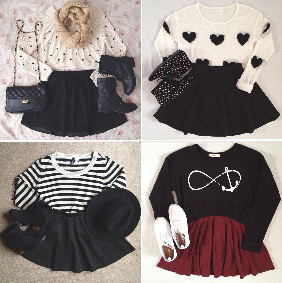 anchor, autumn, black, black and white, burgundy, clothes, clothing, comfy, fall, fashion, fashionable, forever, heart, ideas, inspirations, mini skirt, outfits, polka dots, pullover, skirt, stripy, style, stylish, sweater, white