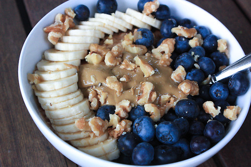 after school, banana, blueberry and bowl