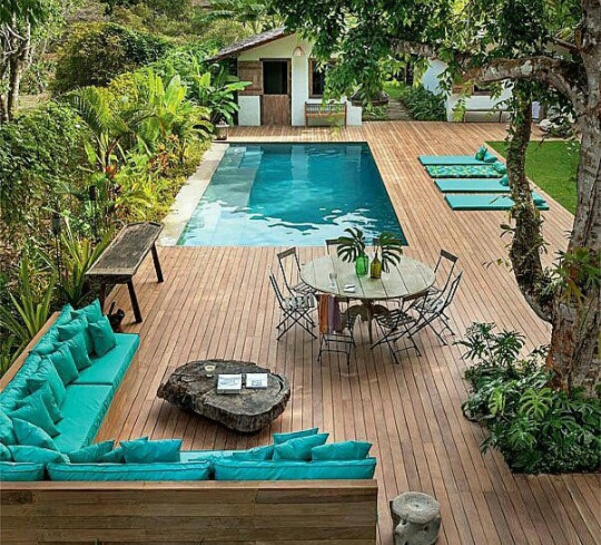 backyard blue goals home house nature pool poolside
