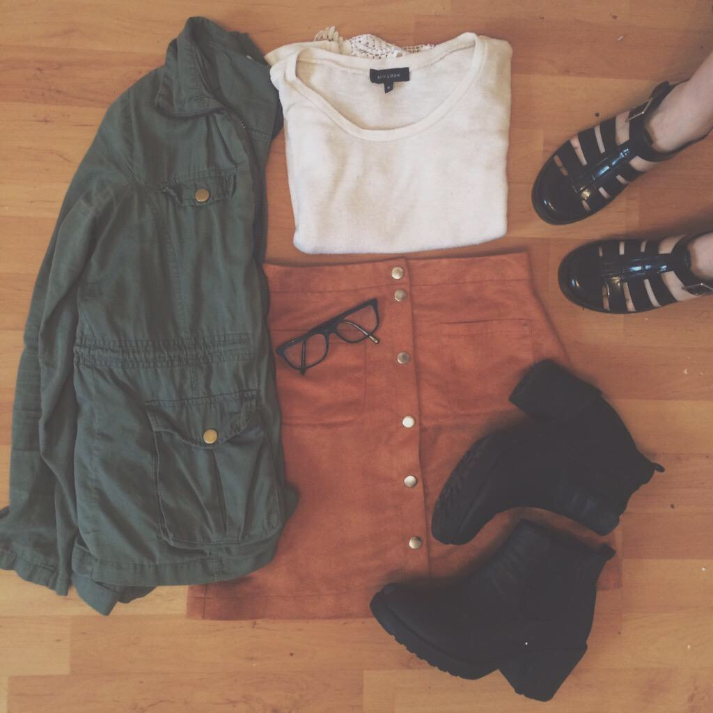 aesthetic, autumn, autumnal, button up, chelsea boots, clothes, cute, fall, fashion, glasses, green coat, grunge, haul, pretty, skirt, tall, tumblr, jelly shoes, ootd