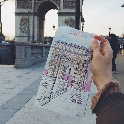 drawing, paris, see the world and travel
