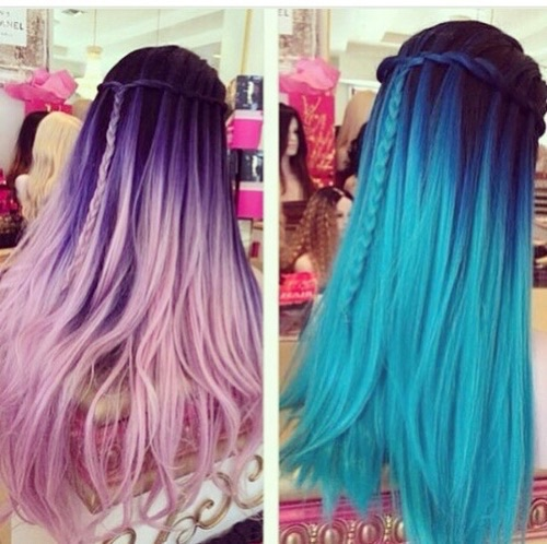 blue hair dyed hair hair hairstyles pink hair image