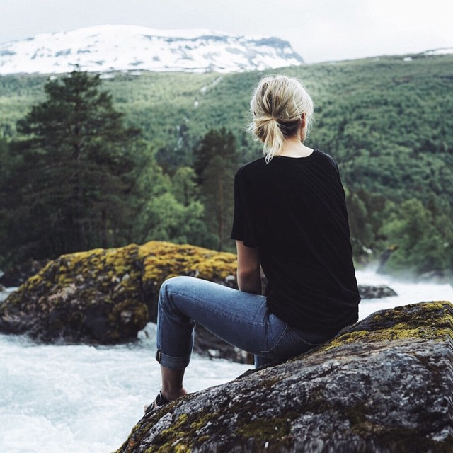 beautiful, blonde, girl, hill, mountain, scenery, travel