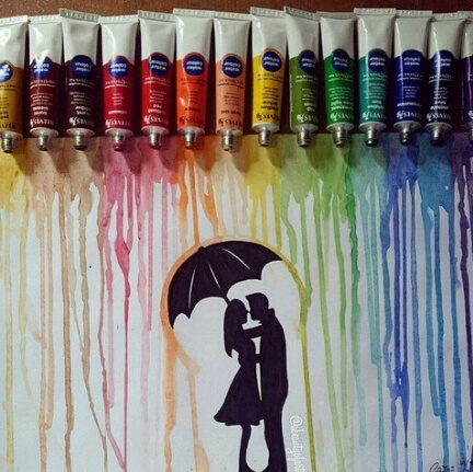 and, b&w, black, boy, colors, couple, couples, cute, drawing, draws, girl, inspiration, rainbow, umbrella, white