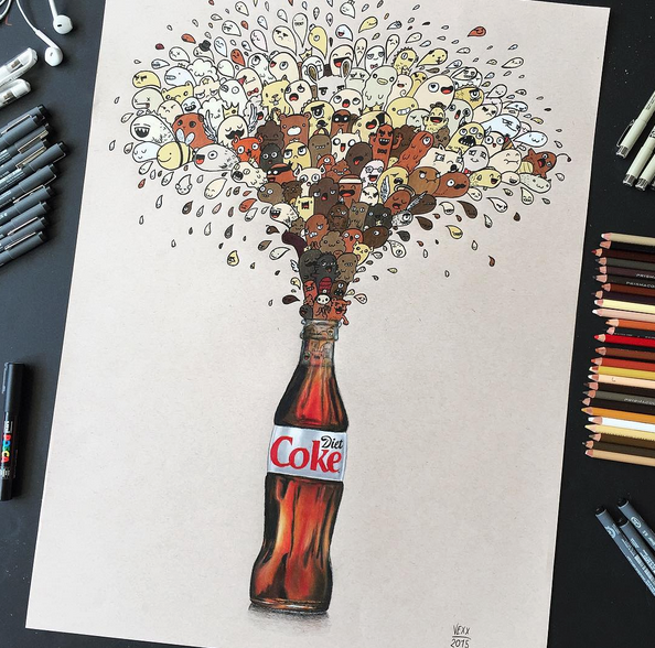 art, artist, bottle, coke, diet coke, doodle, facebook, fun